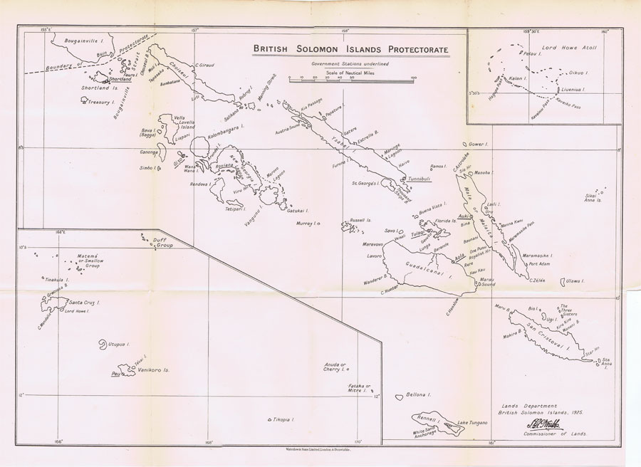 LANDS DEPARTMENT Map of the British Solomon Islands Protectorate