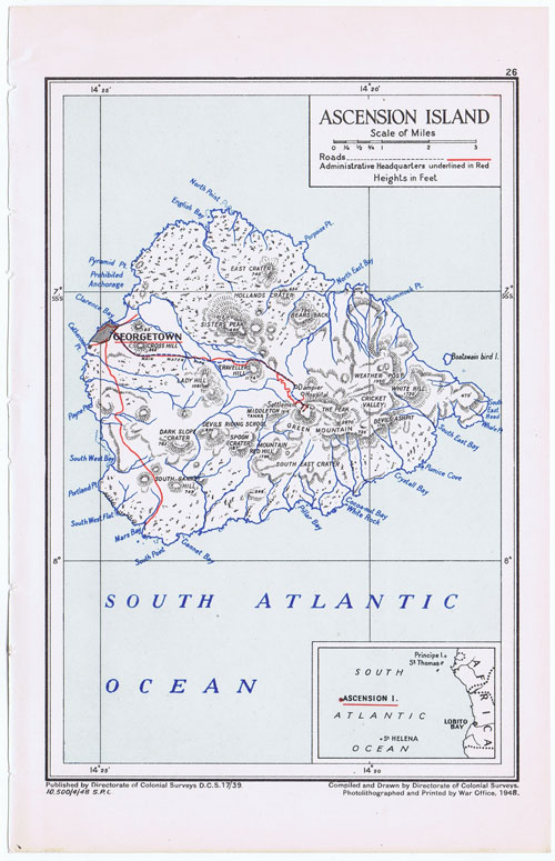 COLONICAL SURVEYS Map of Ascension Island