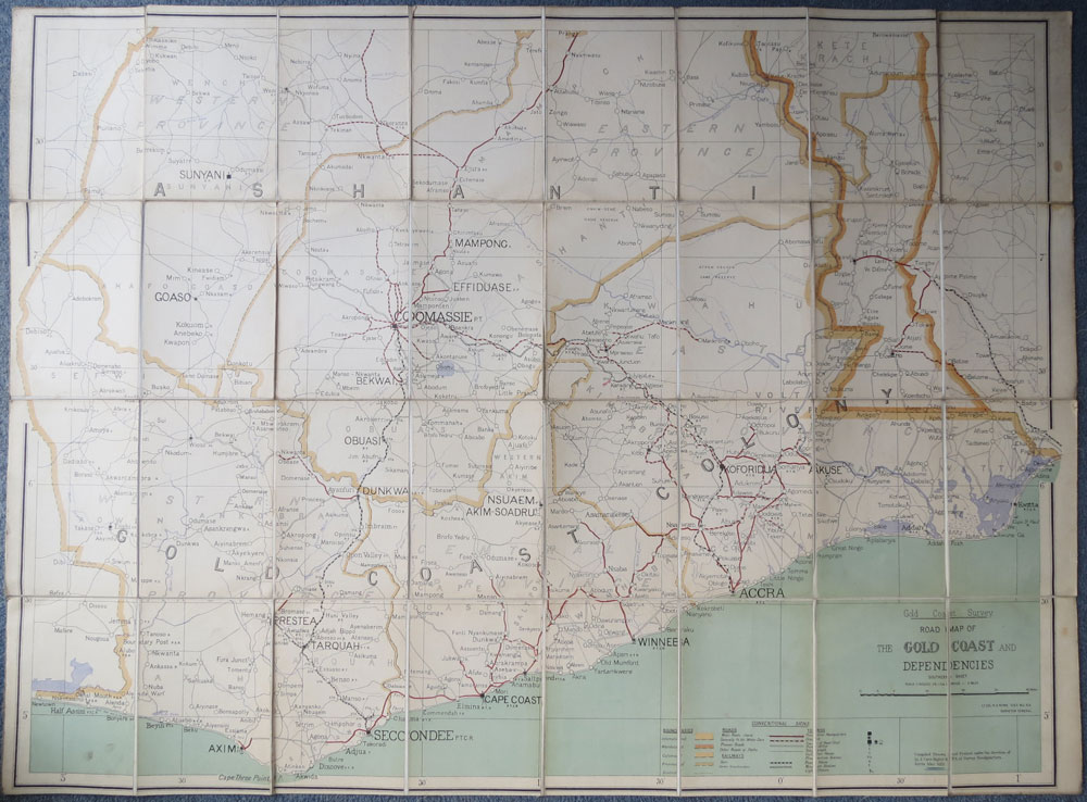 ROWE;- (Lt. Col. R.H.) Road Map Of The Gold Coast And Dependencies. Southern Sheet. - Scale 1 : 500,000 or 1.014 inches to 8 miles.
