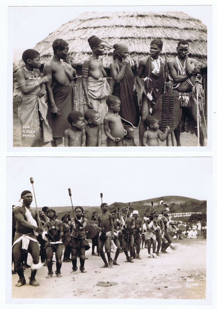 SOUTH AFRICA A Zulu family in 1935 also Zulu dance. - 655 & 668