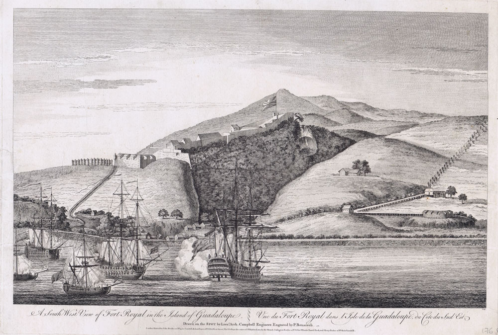 CAMPBELL Lieut. Arch. A south west view of Fort Royal in the island of Guadeloupe.  - Vue du Fort Royal dans l