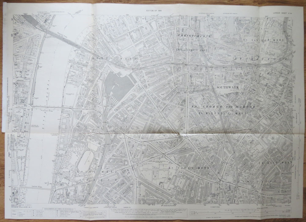 ORDNANCE SURVEY London Sheet V 14. Christchurch and Southwark. Edition of 1916.