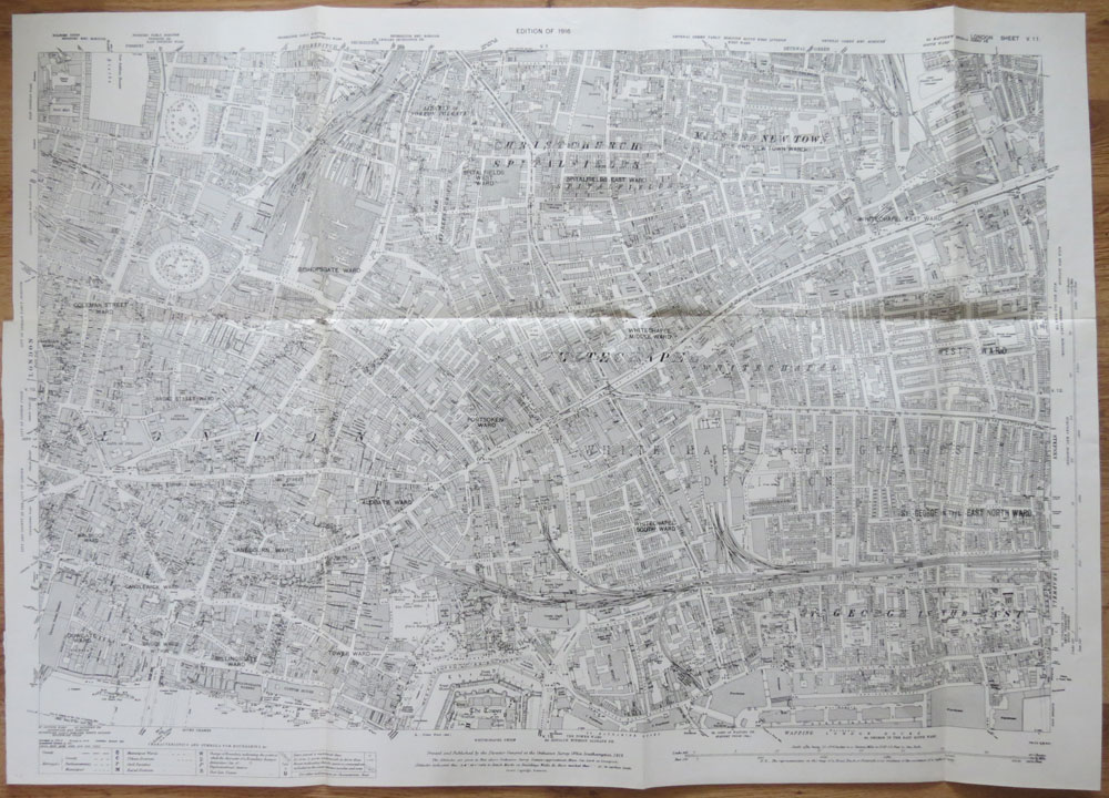 ORDNANCE SURVEY London Sheet V 11. Christchurch and Whitechapel. Edition of 1916.