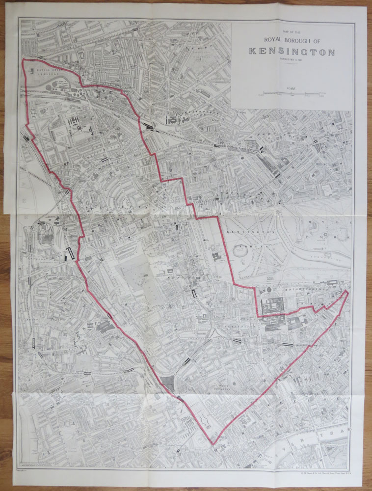 ORDNANCE SURVEY Map of the Royal Borough of Kensington corrected to 1941.