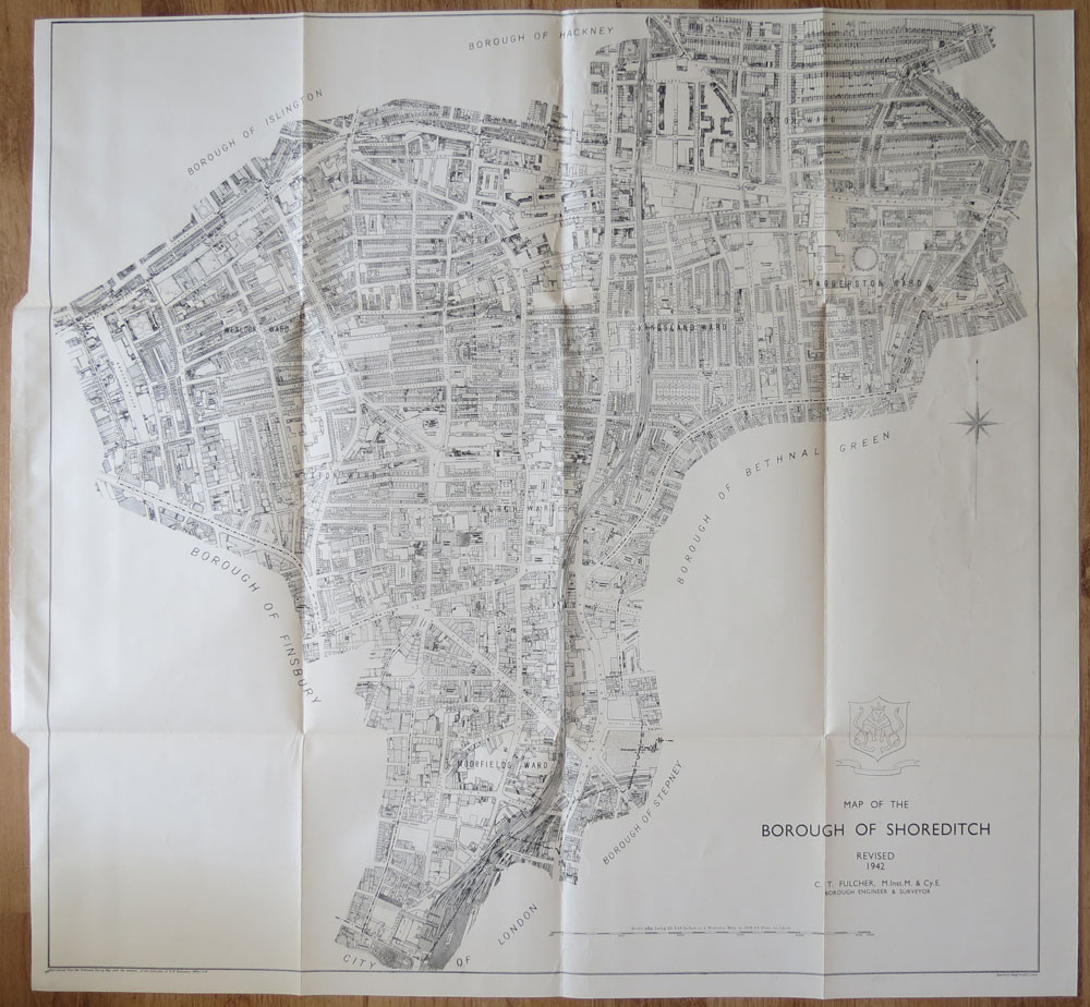 ORDNANCE SURVEY Map of the Borough of Shoreditch, revised 1942.