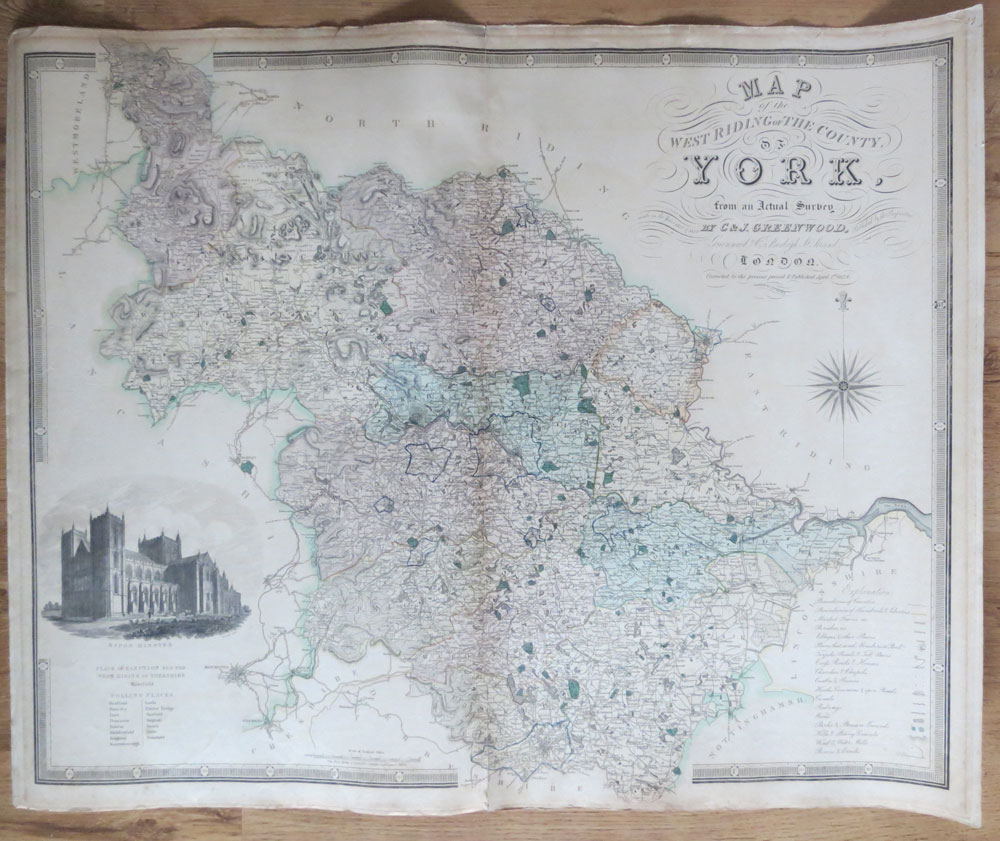 GREENWOOD C & J Map of the West Riding of the County of York - from an actual survey made in the years 1817 & 1818.