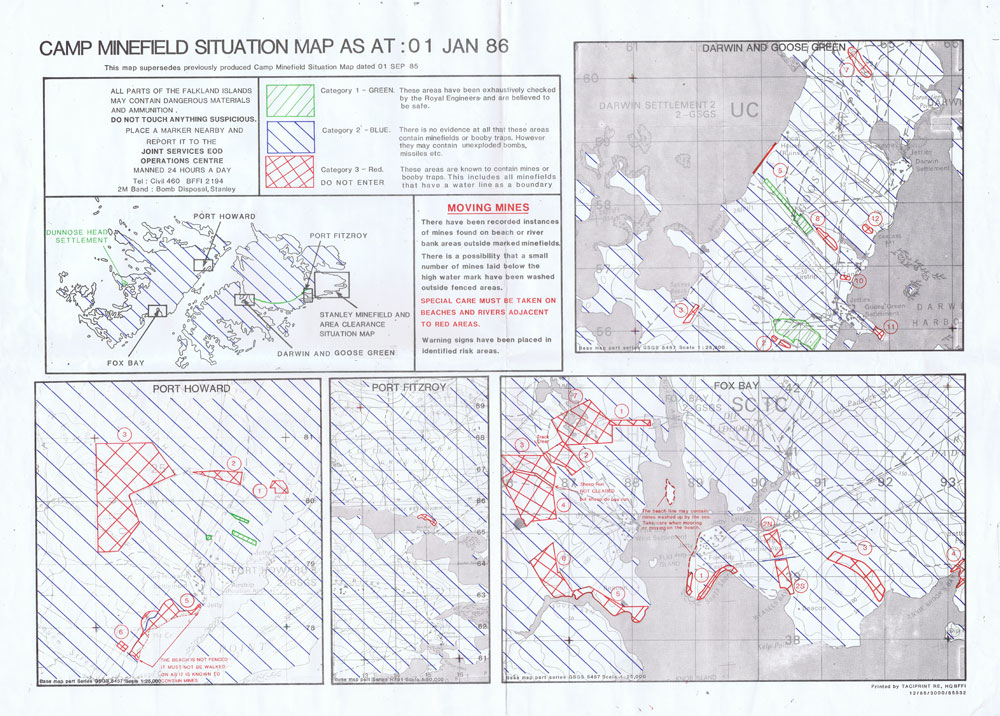FALKLAND ISLANDS Camp Minefield situation map as at 01 Jan 86.