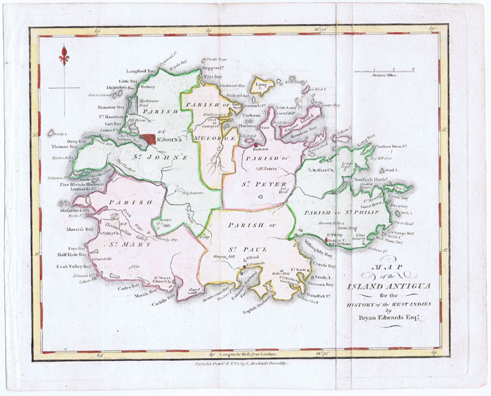 EDWARDS B. Map of the Island of Antigua - for the History of the West Indies