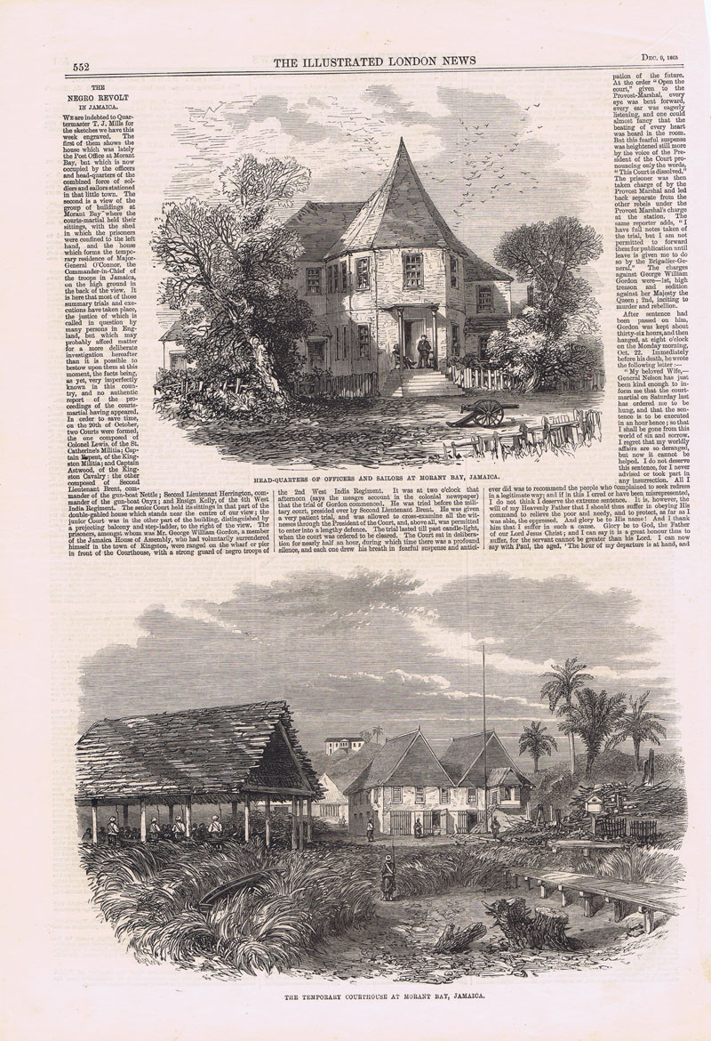 JAMAICA Head-Quarters of Officers and Sailors at Morant Bay, Jamaica - & The Temporary Courthouse at Morant Bay, Jamaica.