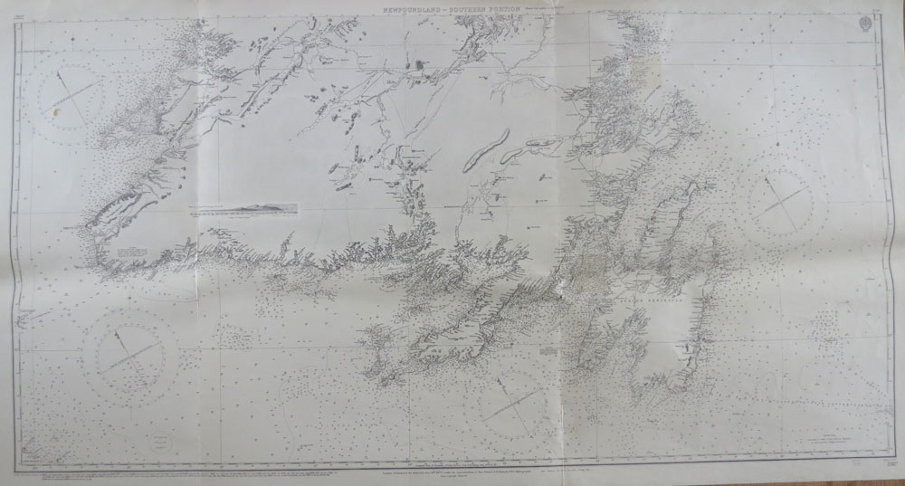 ADMIRALTY CHART Newfoundland from various British and French Government surveys to 1903 with additions from the earlier surveys by Cook, Lane and Bullock.