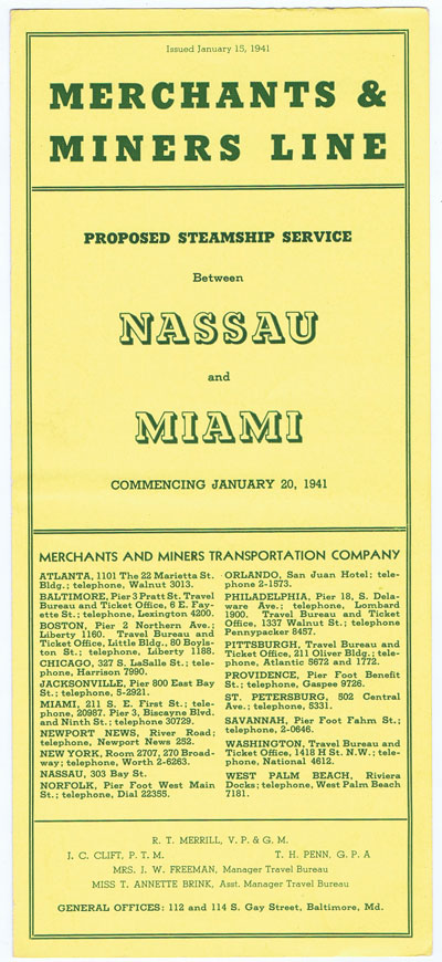ANON Merchants & Miners Line. Proposed Steamship Service between Nassau and Miami.