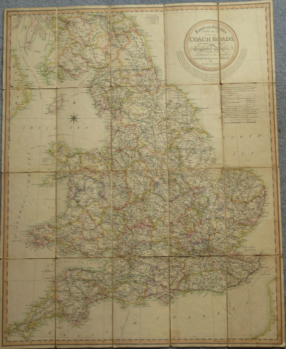 COLTMAN Nathan Laurie and Whittle's New Map of all the Coach Roads, both Direct and Cross, of England & Wales, with those of Scotland to the South of Edinburgh and Glasgow