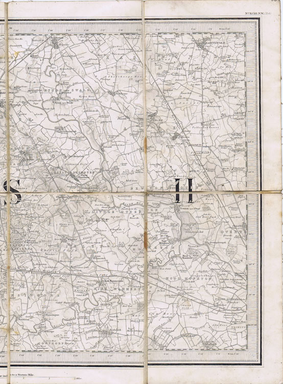 YORKSHIRE Ordnance Survey map of Knaresborough, Boroughbridge and Kirk Hammerton. - No XCIII.N.W. (York)