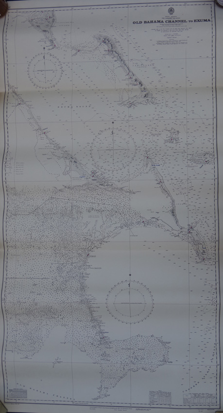 ADMIRALTY CHART Old Bahama Channel to Exuma. - Surveyed by Commr. R. Owen, E. Barnett & T. Smith H.M.S. Thunder & Lark 1836 - 1848 with additions from the United States  Goverrnment charts to 1943