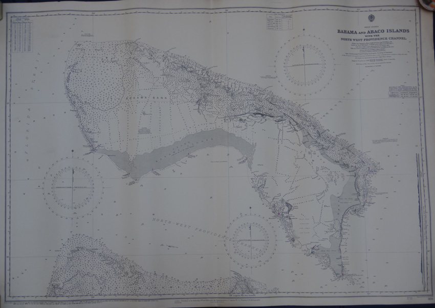 ADMIRALTY CHART Bahama and Abaco Islands with the North West Providence Channel.