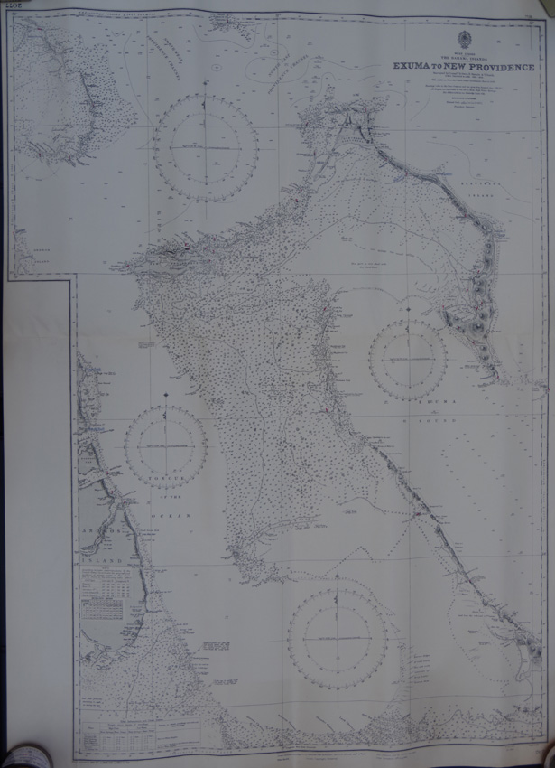 ADMIRALTY CHART Exuma to New Providence. - Surveyed by Commrs. R. Owen, E. Barnett & T. Smith, H.M.S. Thunder & Lark 1836-1848 with additions from the United States Government Chart to 1943.