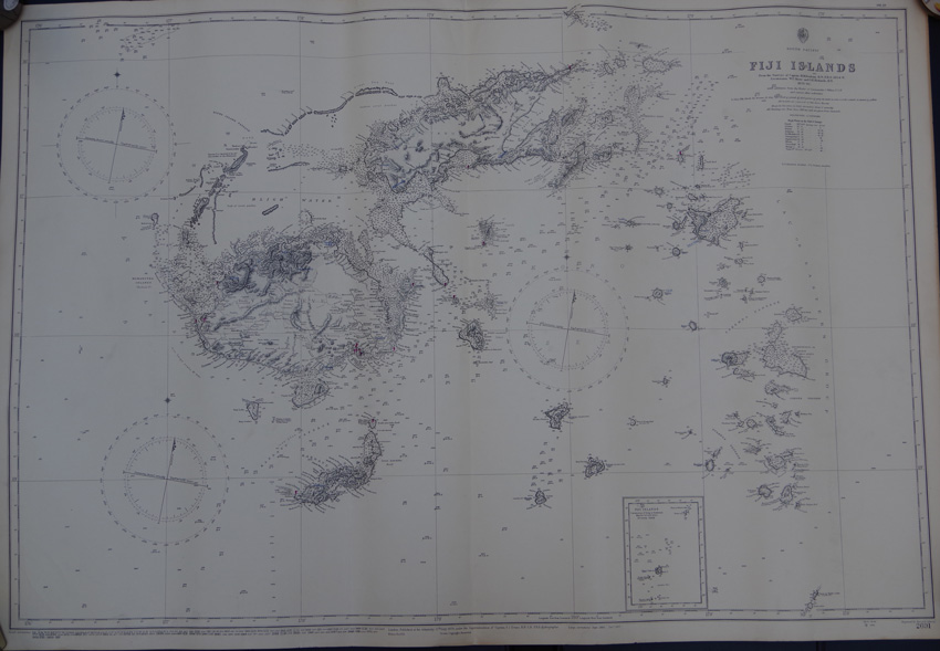 ADMIRALTY CHART Fiji Islands. - From the Surveys of Captain H.M. Denham, R.N., F.R.S. 1854-6. Lieutenants W.U. Moore and G.E. Richards, R.N. 1876-82.