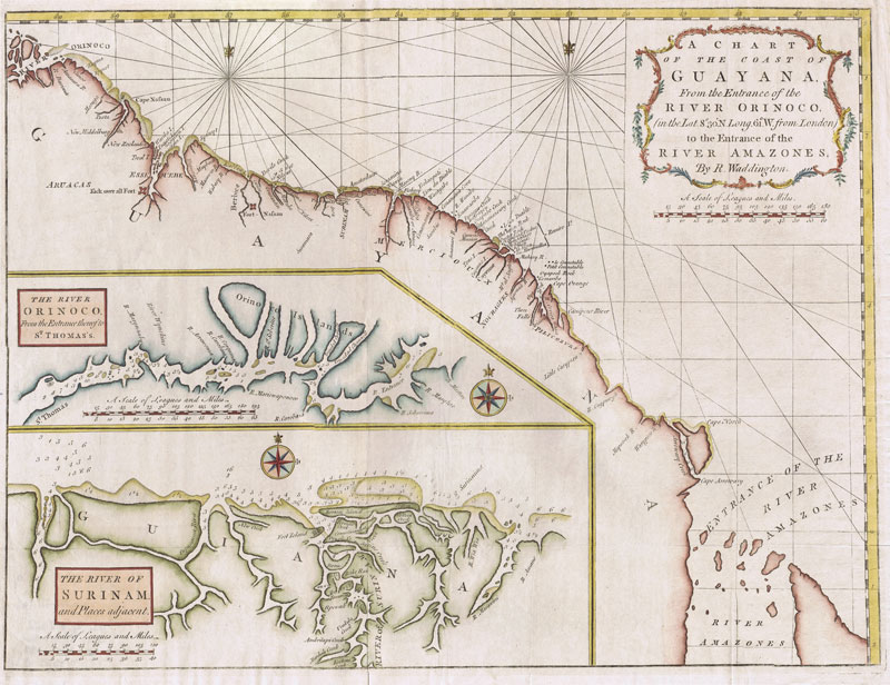 WADDINGTON R. A Chart of the Coast of Guayana, From the Entrance of the River Orinoco to the Entrance of the River Amazones.
