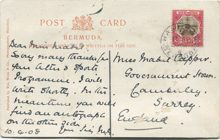 MARK TWAIN autograph on 1908 Bermuda postcard addressed to Mabel Capper, a suffragette.