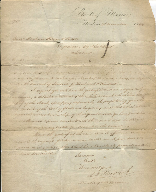 1844 Bank of Madras manuscript letter to Perkins Bacon Petch, Engravers, 69 Fleet St., London