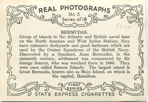 STATE EXPRESS CIGARETTES Bermudas. Real Photograghs No 5. Series of 18