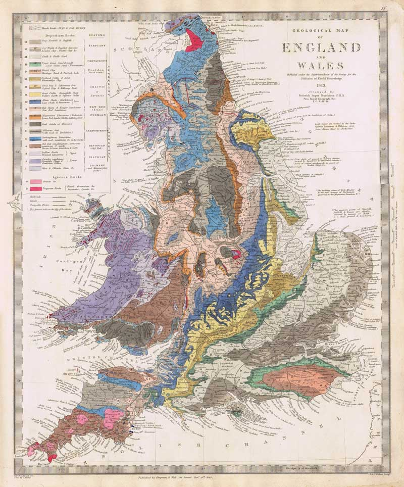 MURCHISON Roderick Impey, Sir Geological map of England, Wales