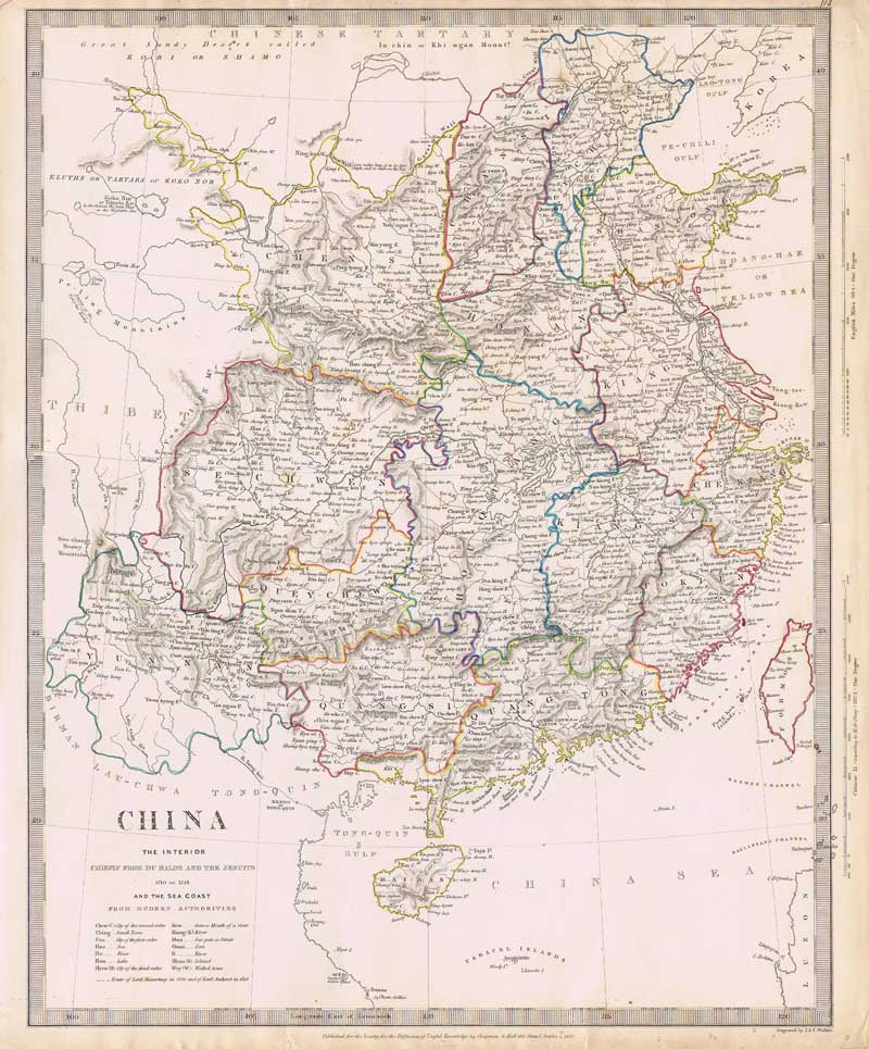 J. & C. WALKER China. The interior chiefly from Du Halde and the Jesuits 1710 to 1718 and the sea coast from modern authorities.