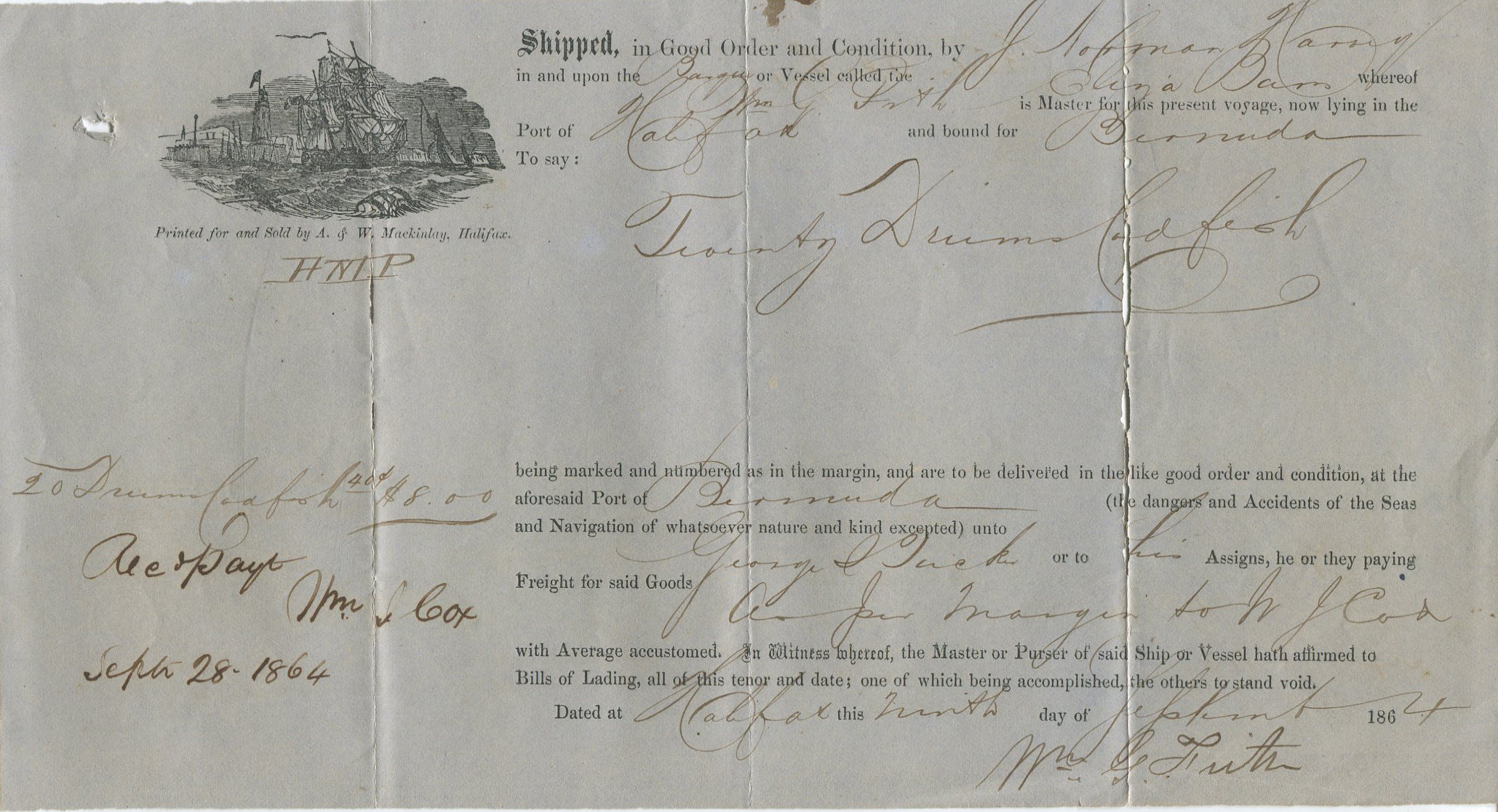 1864 Halifax Nova Scotia printed Bill of Lading for cod fish shipped to Bermuda