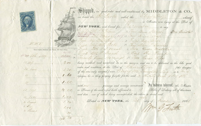 1866 Middleton & Co, New York printed Bill of Lading for produce shipped to Bermuda for Henry Peniston.