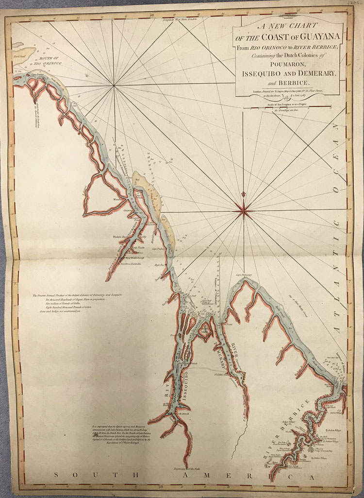 JEFFERYS Thomas A new chart of the coast of Guyana from Rio Orinoco to River Berbice, containing the Dutch colonies of Poumaron, Issequibo and Demerary, and Berbice.