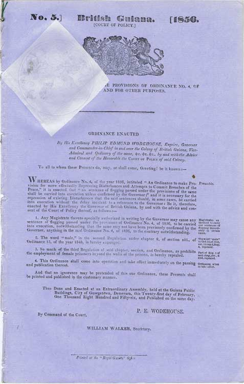 BRITISH GUIANA An Ordinance to extend the provisions of ordinance no. 4 of the year 1856 and for other purposes