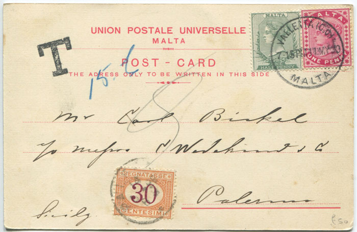 1899 early Malta postcard used to Sicily