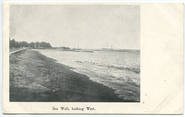 BROMLEY Sea Wall, looking West.