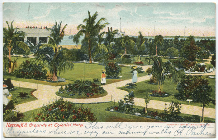 H.C. LEIGHTON CO Nassau, B.A. Grounds at Colonial Hotel.