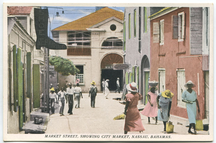 SANDS STUDIO Market Street, showing city market, Nassau, Bahamas. - No 22.