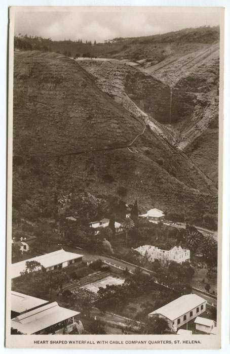 ANON Heart shaped waterfall with Cable Company quarters, St Helena.