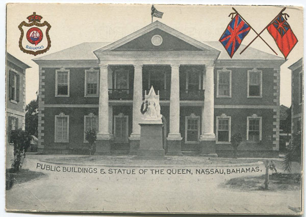 ANON Public Buildings & Statue of the Queen, Nassau, Bahamas.