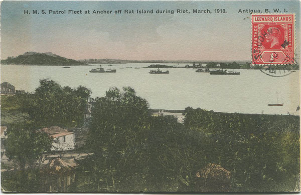 JOSE ANJO H.M.S. Patrol Fleet at Anchor off Rat Island during Riot, March, 1918. Antigua, B.W.I.