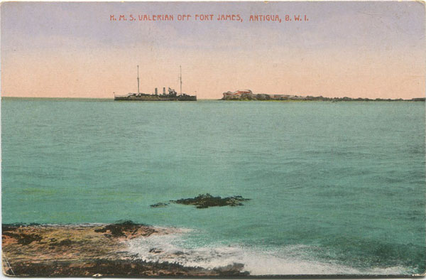 JOSE ANJO H.M.S. Valerian off Fort James, Antigua, B.W.I.