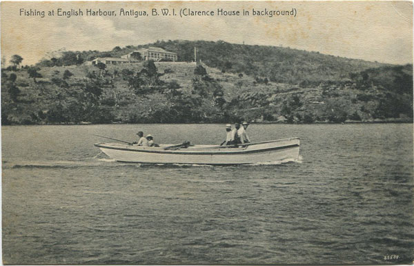 JOSE ANJO Fishing at English Harbour, Antigua, B.W.I. (Clarence House in background)