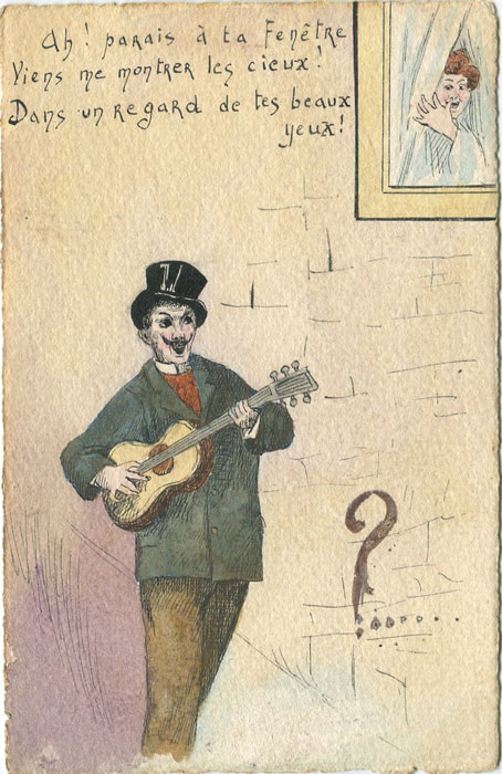 1904 France hand painted postcard showing man with guitar.