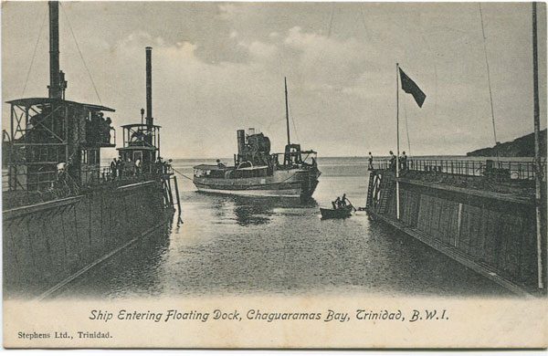 STEPHENS LTD. Ship Entering Floating Dock, Chaguaramas Bay, Trinidad, B.W.I.