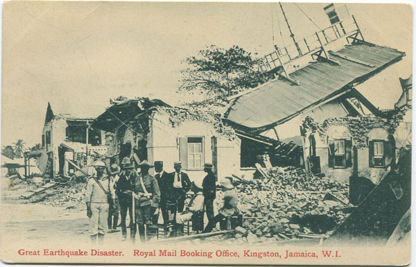 VALENTINES Great Earthquake Disaster. Royal Mail Booking Office, Kingston, Jamaica, W.I.