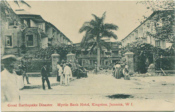 VALENTINES Great Earthquake Disaster. Myrtle Bank Hotel, Kingston, Jamaica, W.I.