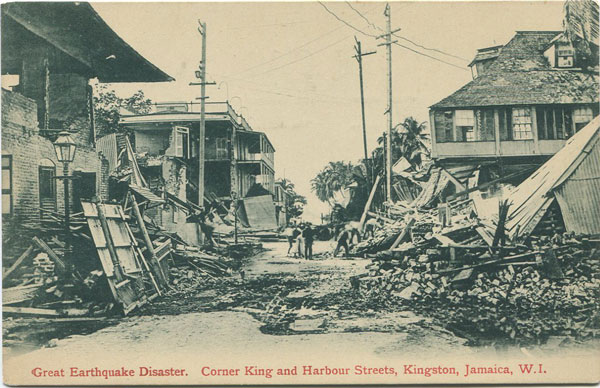 VALENTINES Great Earthquake Disaster. Corner King and Harbour Streets, Kingston, Jamaica, W.I.