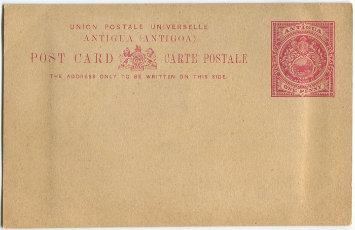 1903 Antigua 1d postal stationery card with photographic image attached to rear