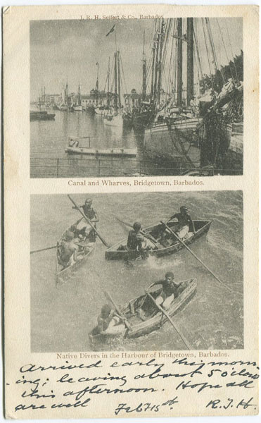 J.R.H. SEIFERT & CO Canal & Wharves, Bridgetown, Barbados & Native Divers in the Harbour of Bridgetown, Barbados