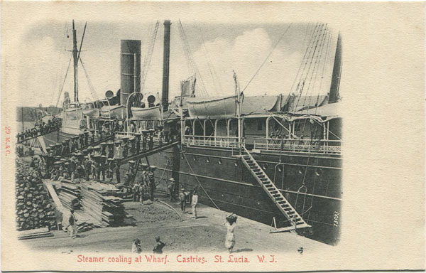 M & C Steamer coaling at Wharf. Castries. St Lucia. W.I. - No 29