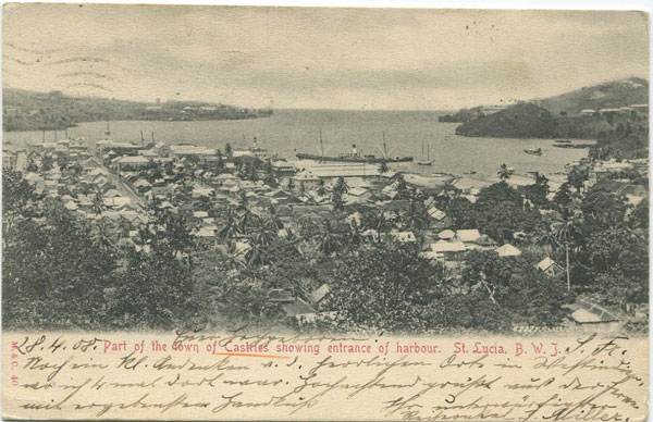 M & C Part of town of Castries showing entrance of harbour. St Lucia. B.W.I. - No 40