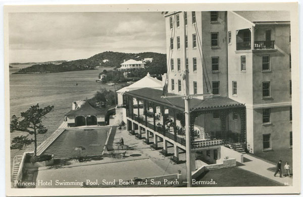 WALTER RUTHERFORD & A.J. GORMAN Princess HotelSwimming Pool, Sand Beach and Sun Porch, Bermuda. - No 91